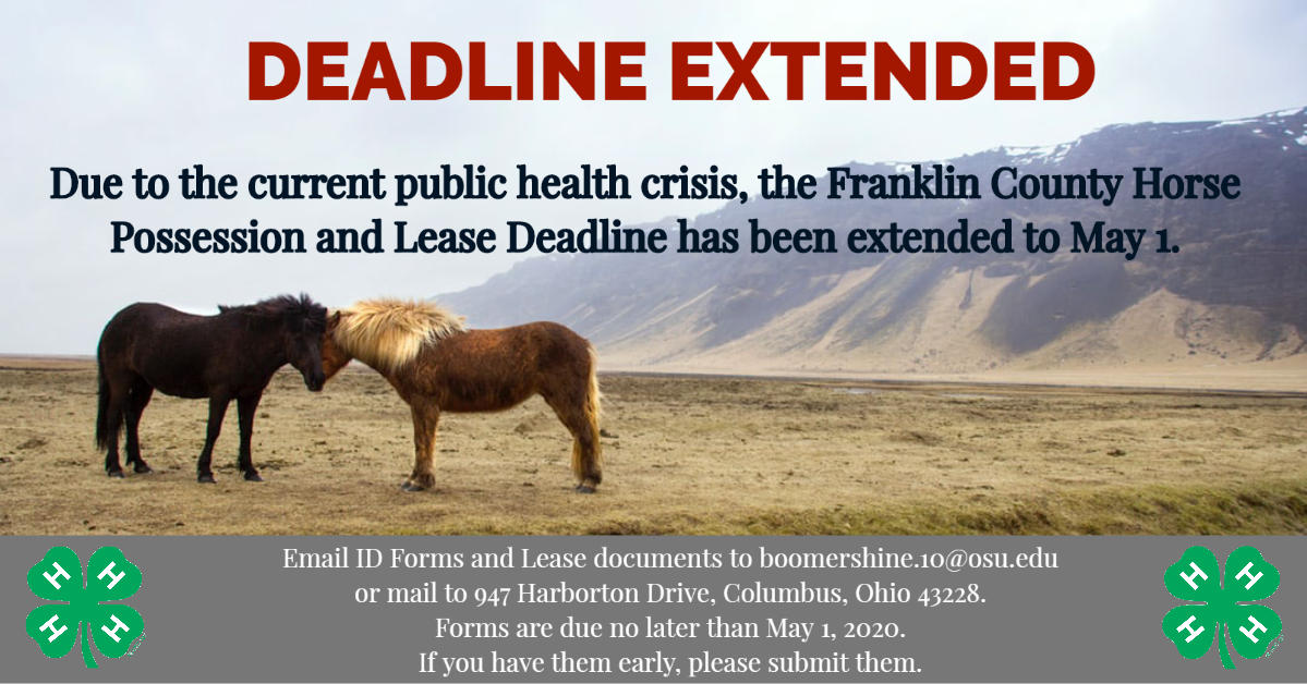 Horse Deadline Extended to May 1