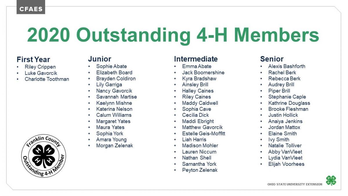 Outstanding 4-H Members